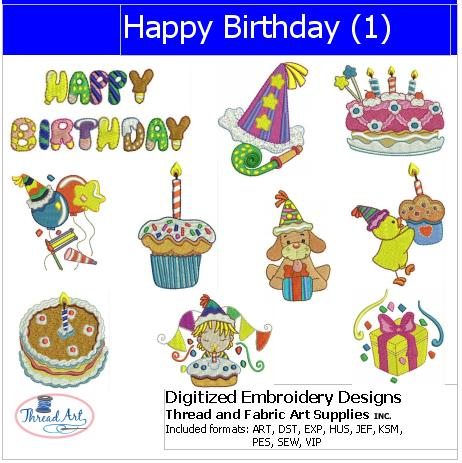 Machine Embroidery Designs - Happy Birthday(1) - Threadart.com