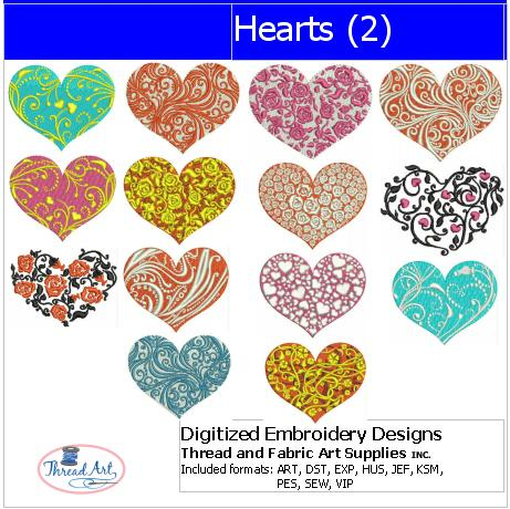 Machine Embroidery Designs - Hearts(2) - Threadart.com