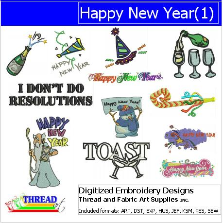 Machine Embroidery Designs - Happy New Year (1) - Threadart.com
