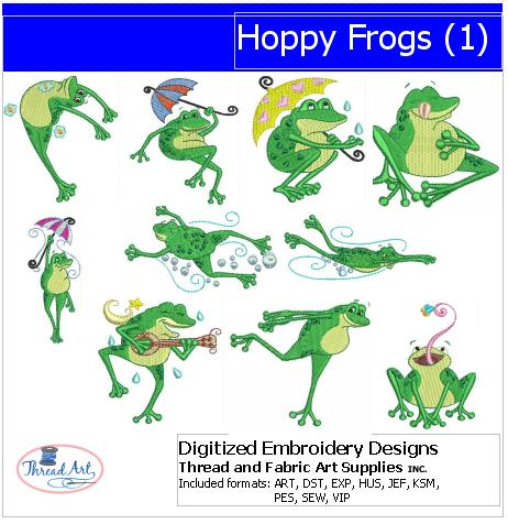 Machine Embroidery Designs - Hoppy Frogs(1) - Threadart.com