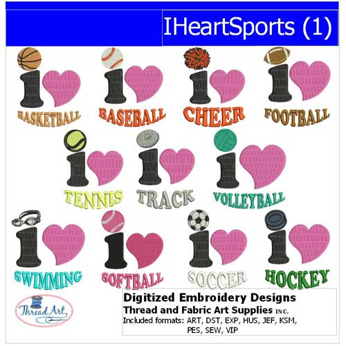 Machine Embroidery Designs - IHeartSports(1) - Threadart.com