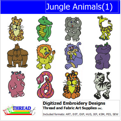 Machine Embroidery Designs - Jungle Animals(1) - Threadart.com