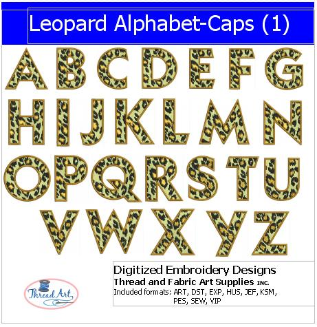Machine Embroidery Designs - Leopard Alphabet Caps(1) - Threadart.com