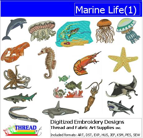 Machine Embroidery Designs - Marine Life(1) - Threadart.com