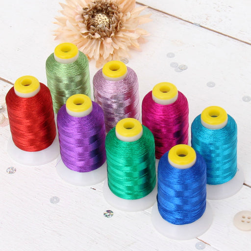 8 Cones of Metallic Thread - 500 Meter Cones - Brights - Threadart.com