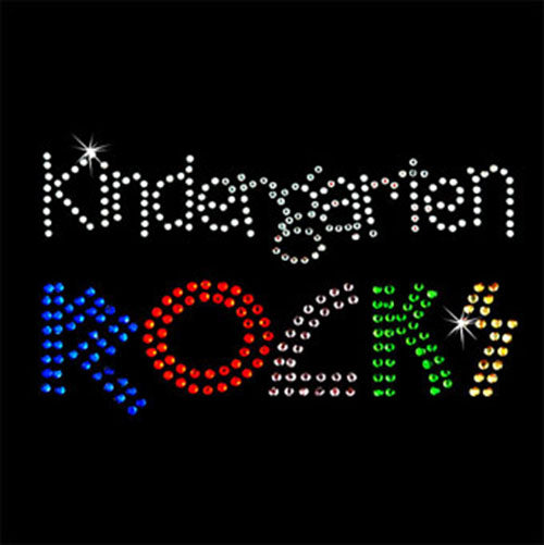 Hot Fix Rhinestone Heat Transfer Motif Kindergarten Rocks - Threadart.com