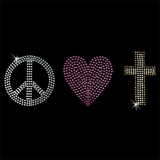 Hot Fix Heat Transfer Rhinestone Motif Peace Love Cross - Threadart.com