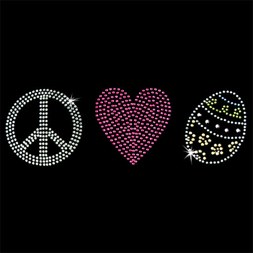 Hot Fix Heat Transfer Rhinestone Motif Peace Love Easter Egg - Threadart.com