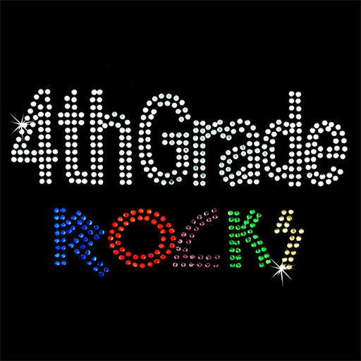 Hot Fix Rhinestone Heat Transfer Motif 4th Grade Rocks - Threadart.com