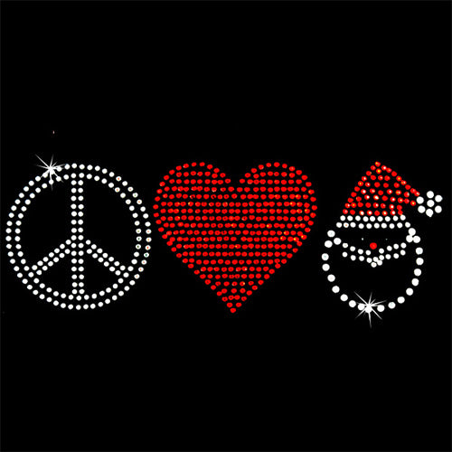 Hot Fix Heat Transfer Rhinestone Motif Peace Heart Santa - Threadart.com