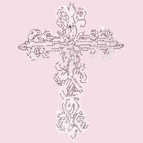 Hot Fix Rhinestone Heat Transfer Motif Cross 15 - Threadart.com
