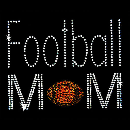 Hot Fix Heat Transfer Rhinestone Motif Football Mom - Threadart.com