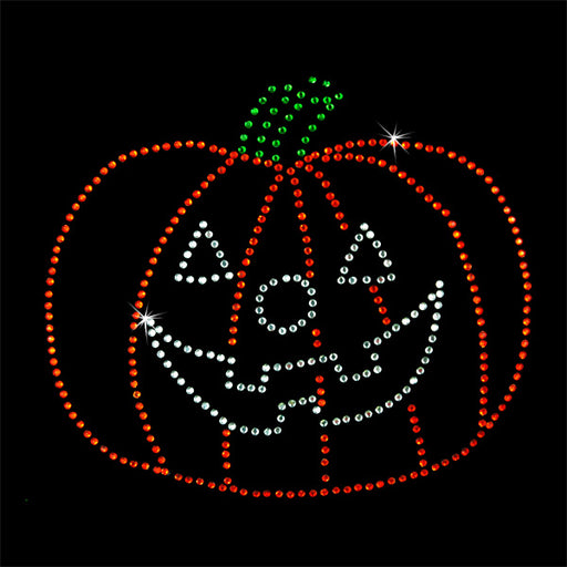 Hot Fix Heat Transfer Rhinestone Motif Pumpkin - Threadart.com