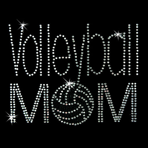 Hot Fix Heat Transfer Rhinestone Motif Volleyball Mom - Threadart.com