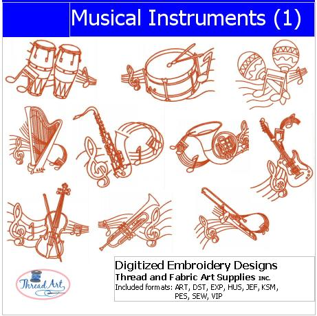Machine Embroidery Designs - Musical Instruments1 - Threadart.com