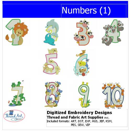 Machine Embroidery Designs - Numbers(1) - Threadart.com