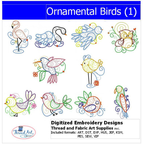 Machine Embroidery Designs - Ornamental Birds (1) - Threadart.com