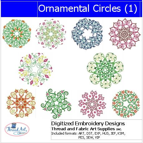 Machine Embroidery Designs - Ornamental Circles - Threadart.com