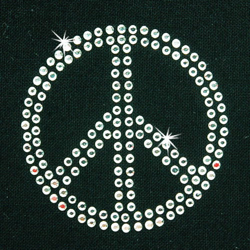 Hot Fix Heat Transfer Rhinestone Motif Peace - Threadart.com