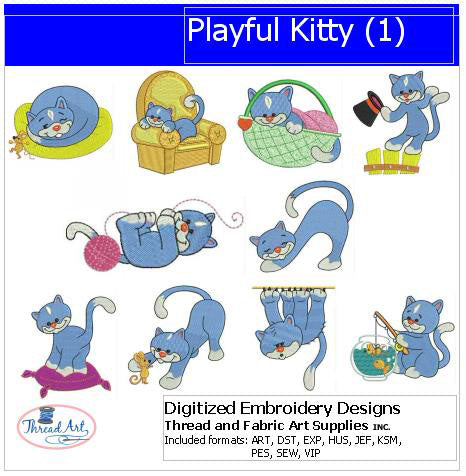 Machine Embroidery Designs - Playful Kitty(1) - Threadart.com