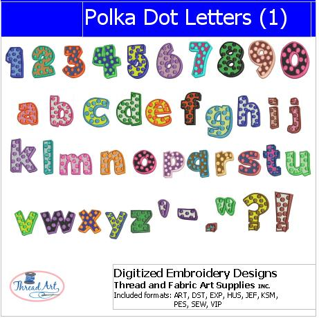 Machine Embroidery Designs - Polka Dot Letters(1) - Threadart.com