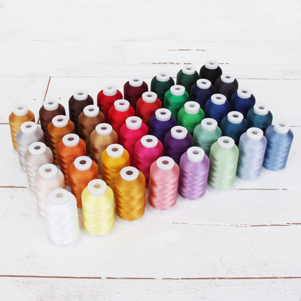 40 Colors Polyester Embroidery Thread Set - 1000M Cones Set A - Threadart.com