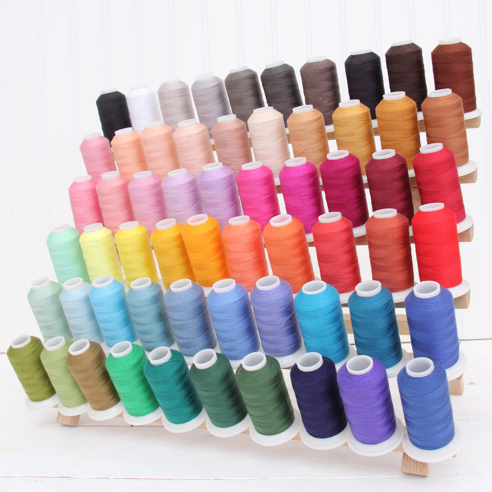 60 Colors of All-Purpose Polyester Sewing Thread- 600 Meter Cones - Threadart.com