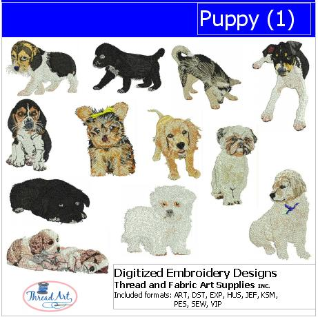 Machine Embroidery Designs - Puppies(1) - Threadart.com