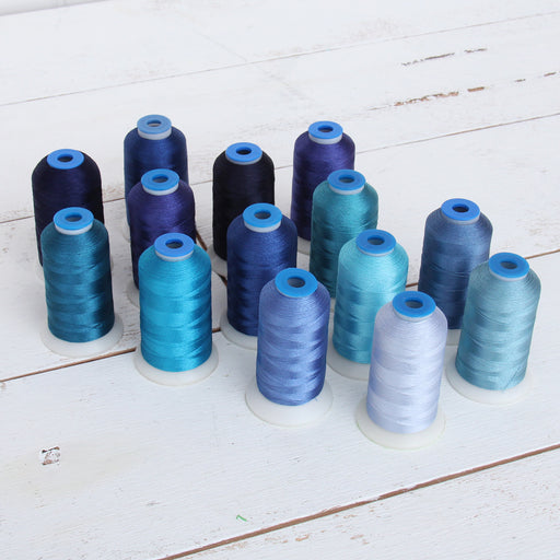 14 Cone Blue Color Builder Rayon Thread Set - 1000m Cones - Silky Luxurious Finish - Threadart.com