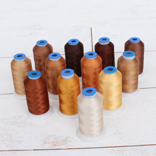 12 Cone Brown/Tan Color Builder Rayon Thread Set - 1000m Cones - Silky Luxurious Finish - Threadart.com