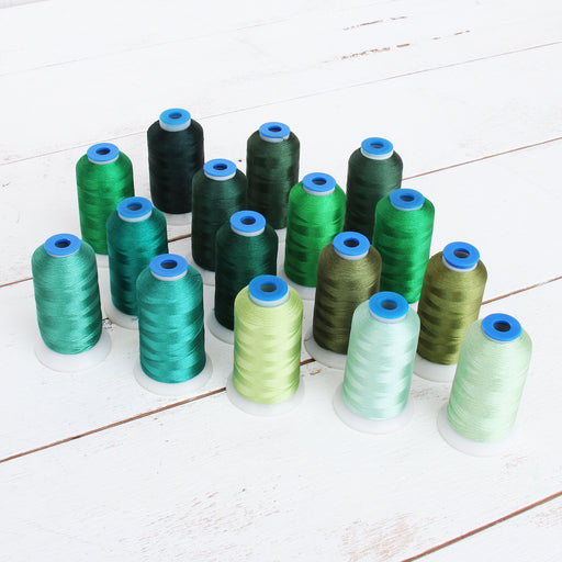 16 Cone Green Color Builder Rayon Thread Set - 1000m Cones - Silky Luxurious Finish - Threadart.com