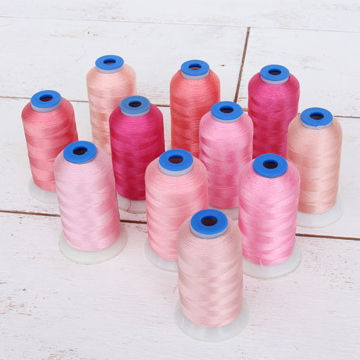 11 Cone Pink Color Builder Rayon Thread Set - 1000m Cones - Silky Luxurious Finish - Threadart.com