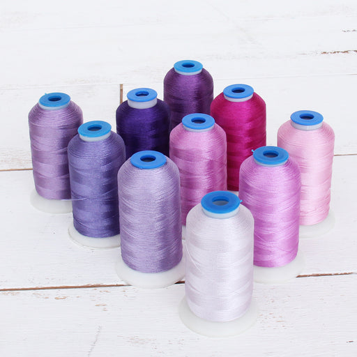 10 Cone Purple Color Builder Rayon Thread Set - 1000m Cones - Silky Luxurious Finish - Threadart.com