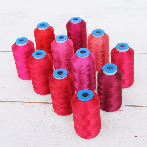 11 Cone Red Color Builder Rayon Thread Set - 1000m Cones - Silky Luxurious Finish - Threadart.com
