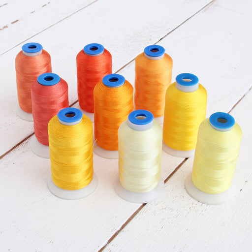 9 Cone Sunrise Color Builder Polyester Thread Set - 1000m Cones - Brilliant Finish - Threadart.com