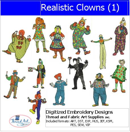 Machine Embroidery Designs - Realistic Clowns(1) - Threadart.com