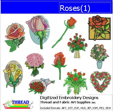 Machine Embroidery Designs - Roses(1) - Threadart.com