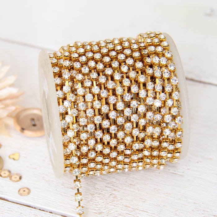 Rhinestone Chain SS16 - 10 yd Roll - Crystal/Gold - Threadart.com