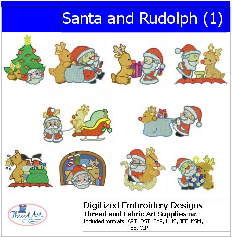Machine Embroidery Designs - Santa and Rudolph(1) - Threadart.com