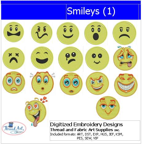 Machine Embroidery Designs - Smileys(1) - Threadart.com