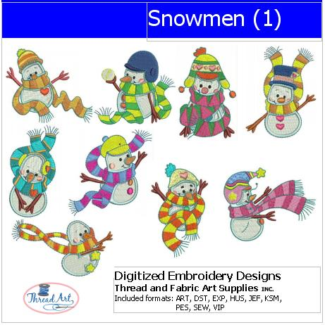 Machine Embroidery Designs - Snowmen(1) - Threadart.com