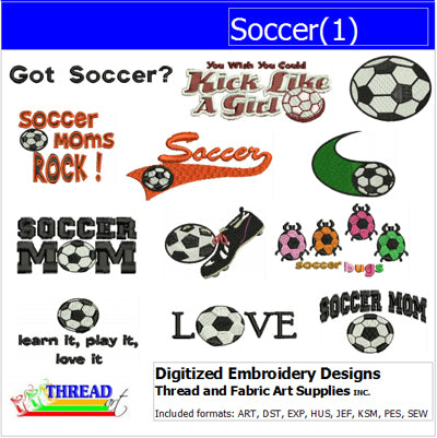 Machine Embroidery Designs - Soccer(1) - Threadart.com
