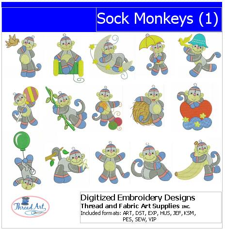 Machine Embroidery Designs - Sock Monkeys(1) - Threadart.com