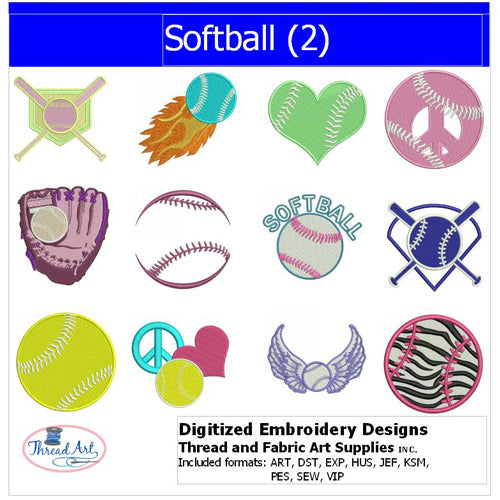 Machine Embroidery Designs - Softball(2) - Threadart.com