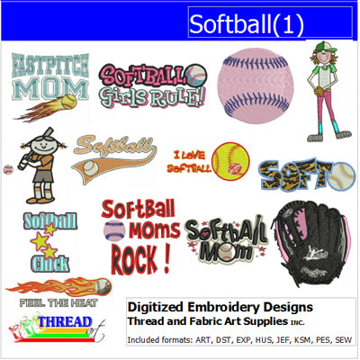 Machine Embroidery Designs - Softball(1) - Threadart.com