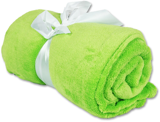Pack of 3 Plush Fleece Blanket - Lime Green - Threadart.com