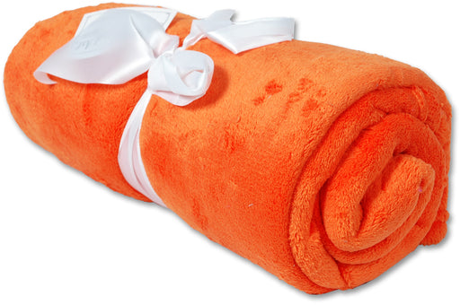 Pack of 3 Plush Fleece Blanket - Orange - Threadart.com