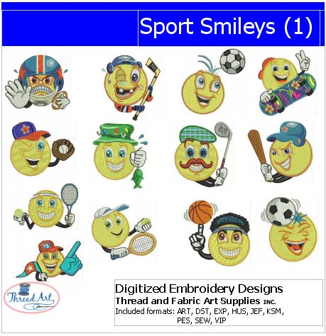 Machine Embroidery Designs - Sport Smileys(1) - Threadart.com