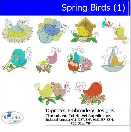 Machine Embroidery Designs - Spring Birds(1) - Threadart.com