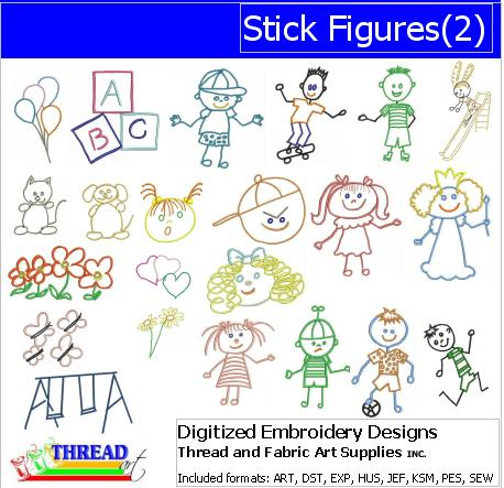 Machine Embroidery Designs - Stick Figures(2) - Threadart.com